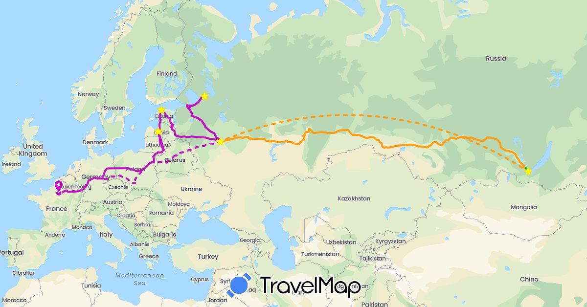 TravelMap itinerary: driving, bus, train, transsibérien in Belarus, Estonia, France, Lithuania, Latvia, Poland, Russia (Europe)